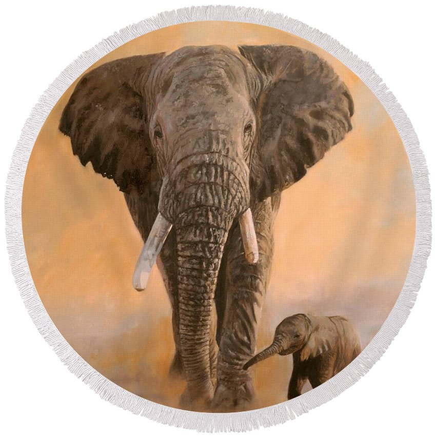Elephant Round Beach Towel featuring the painting African Elephants by David Stribbling