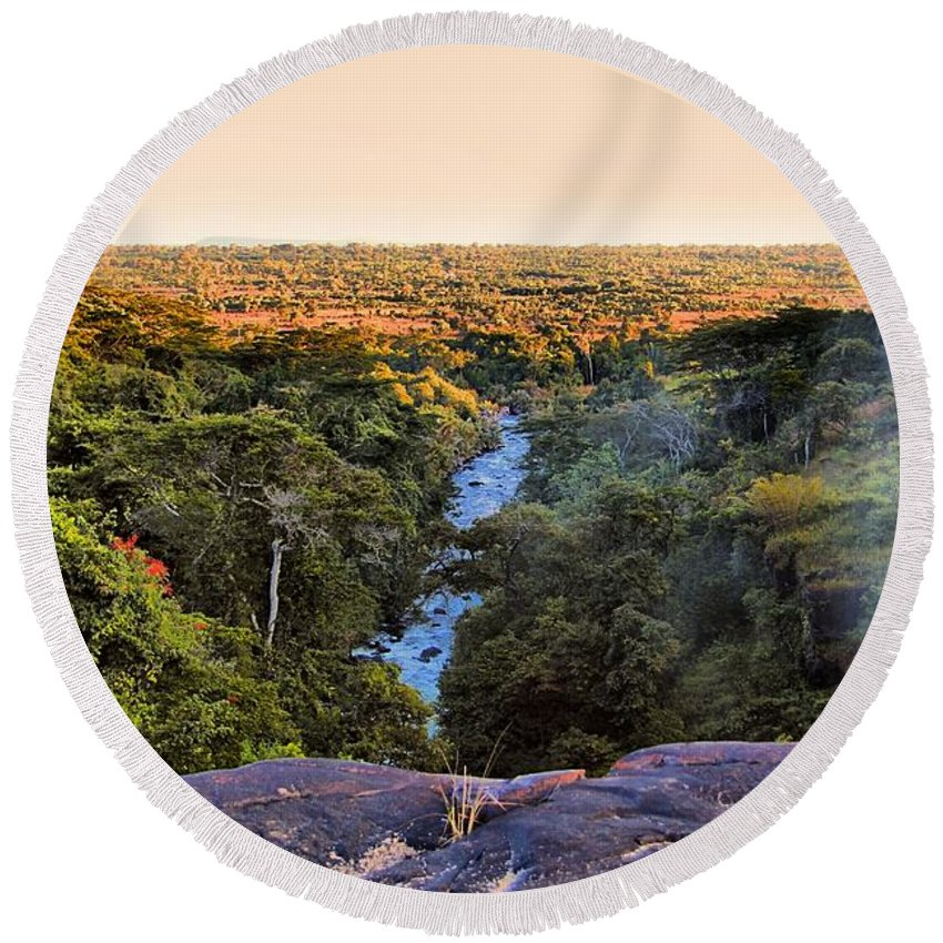 Savannah Round Beach Towel featuring the photograph African Forest by Martin Michael Pflaum