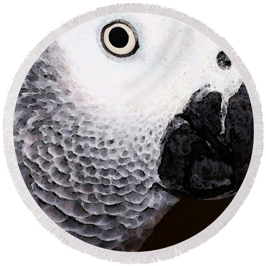 African Grey Round Beach Towel featuring the painting African Gray Parrot Art - Seeing Is Believing by Sharon Cummings