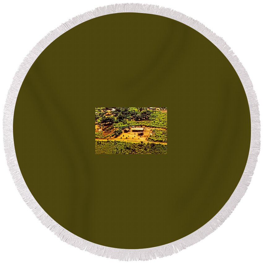Africa Round Beach Towel featuring the photograph African Land by Image Takers Photography LLC