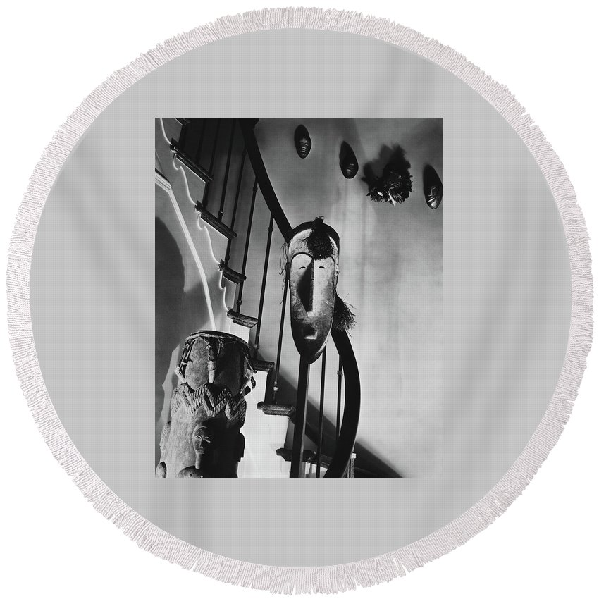 Art Round Beach Towel featuring the photograph African Masks And Drums In Eugene O'neill's by Anton Bruehl