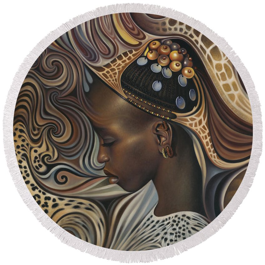 African Woman Round Beach Towels