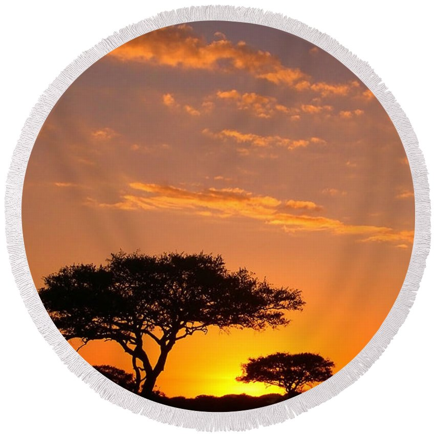 Africa Round Beach Towel featuring the photograph African Sunset by Sebastian Musial