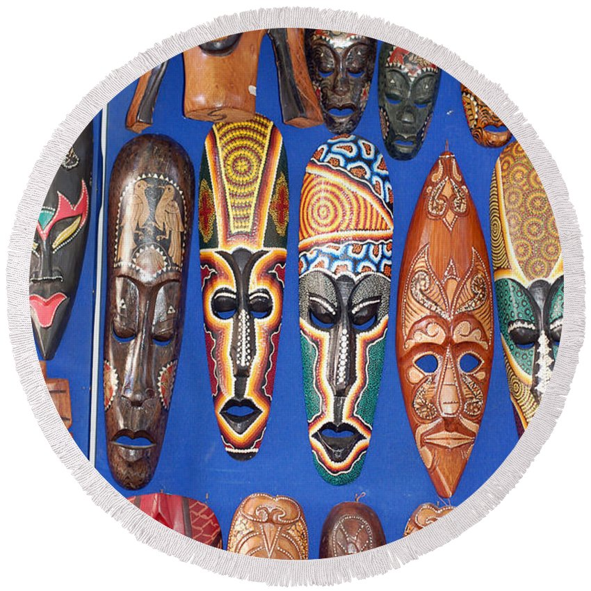 African Tribal Masks Round Beach Towel featuring the digital art African Tribal Masks In Sidi Bou Said by Eva Kaufman