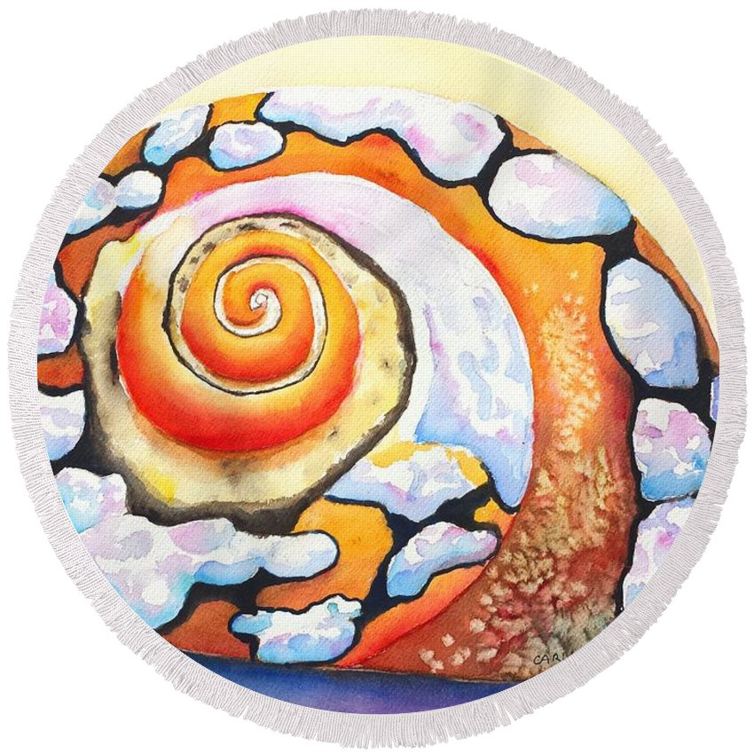 Shell Round Beach Towel featuring the painting African Turbo Shell by Carlin Blahnik CarlinArtWatercolor