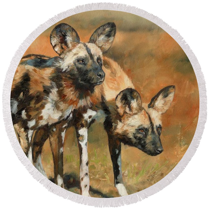 Wild Dogs Round Beach Towel featuring the painting African Wild Dogs by David Stribbling