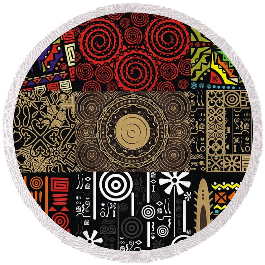 Adinke Round Beach Towel featuring the digital art Afroecletic II by Adinke Inc