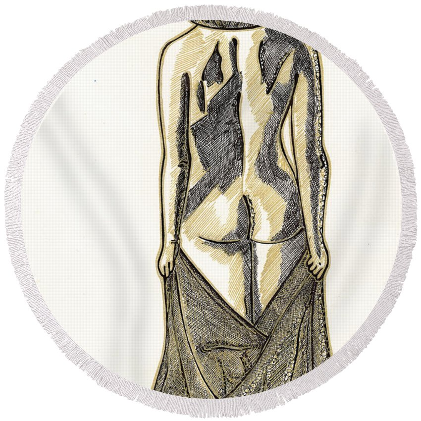 Woman Round Beach Towel featuring the painting After Bath by Alex Art and Photo