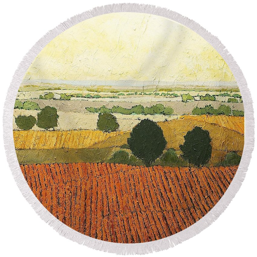 Landscape Round Beach Towel featuring the painting After Harvest by Allan P Friedlander