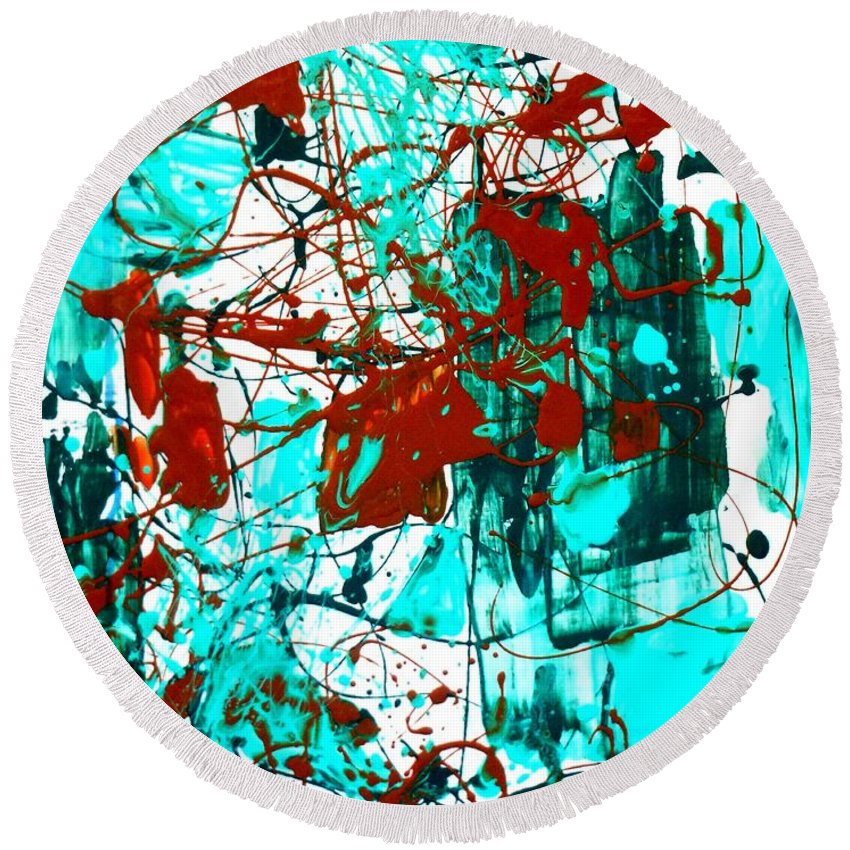 Abstract Round Beach Towel featuring the painting After Pollock by Genevieve Esson