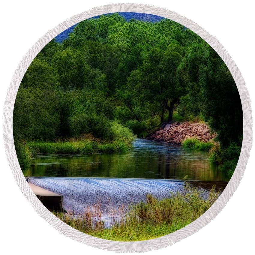 Big Thompson River Round Beach Towel featuring the photograph After Rain by Jon Burch Photography