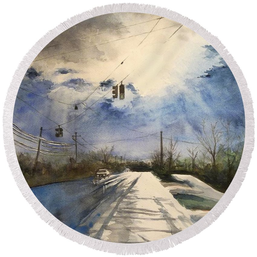 Road Round Beach Towel featuring the painting After Rain -on The Michigan Ave. Saline Michigan by Yoshiko Mishina