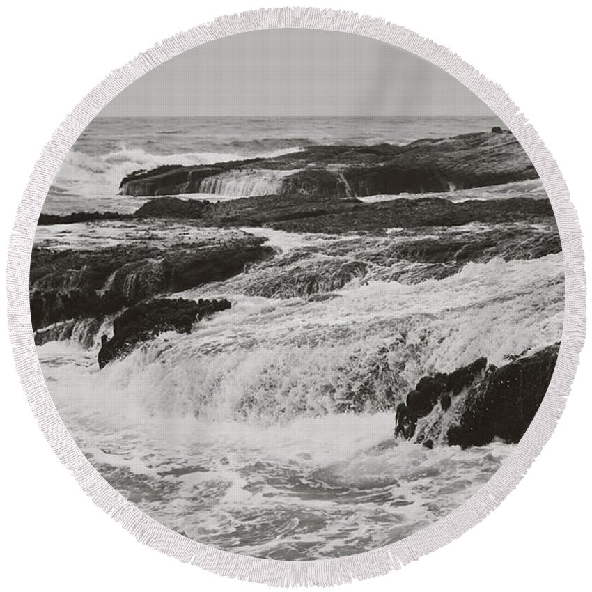 Stornetta Public Lands Round Beach Towel featuring the photograph After The Crash by Laurie Search