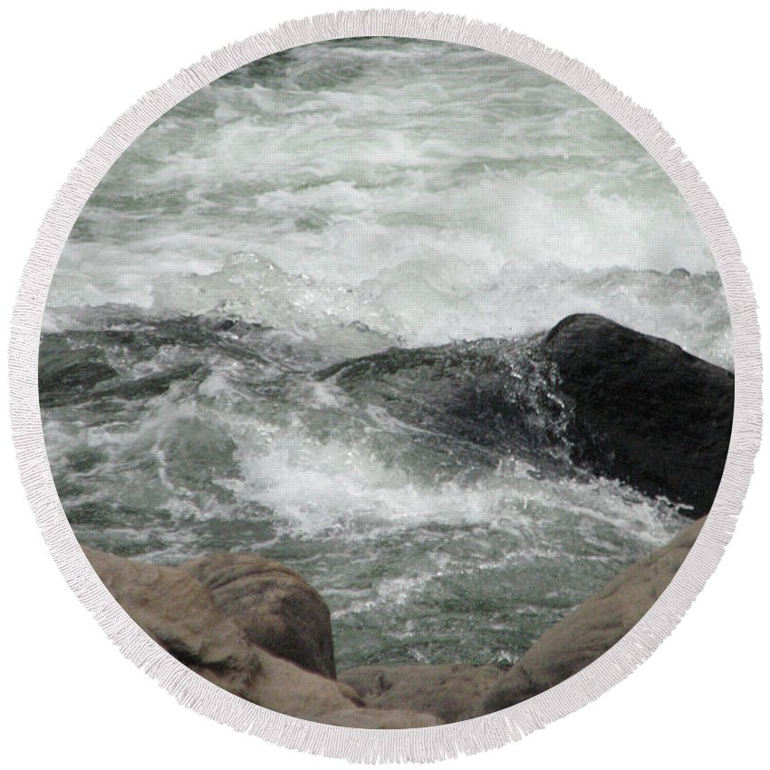 Waterfall Round Beach Towel featuring the photograph After The Falls by Liz Tomlinson