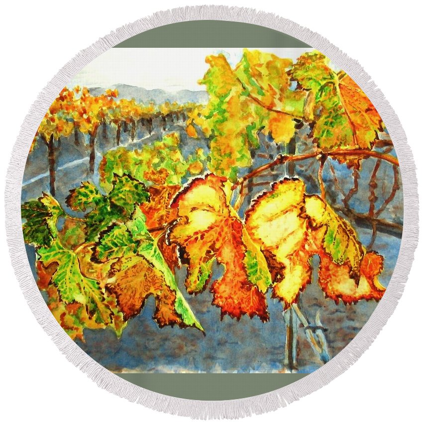 Vineyard Round Beach Towel featuring the painting After The Harvest by Karen Ilari