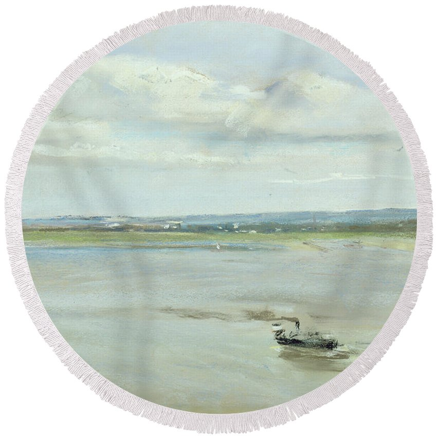 Boat Round Beach Towel featuring the painting After The Rain by Max Liebermann