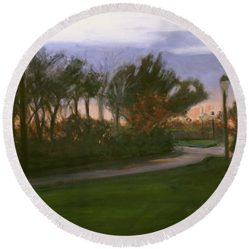 June Round Beach Towel featuring the painting After The Rain by Sarah Yuster