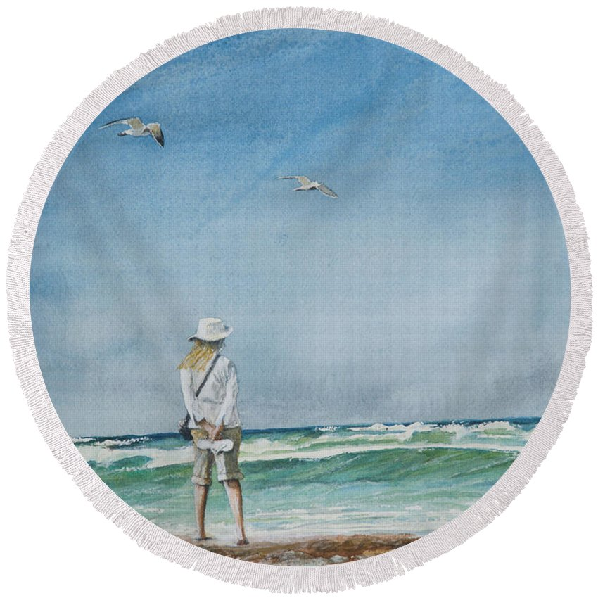 Landscape Round Beach Towel featuring the painting After The Storm by Arthur Fix