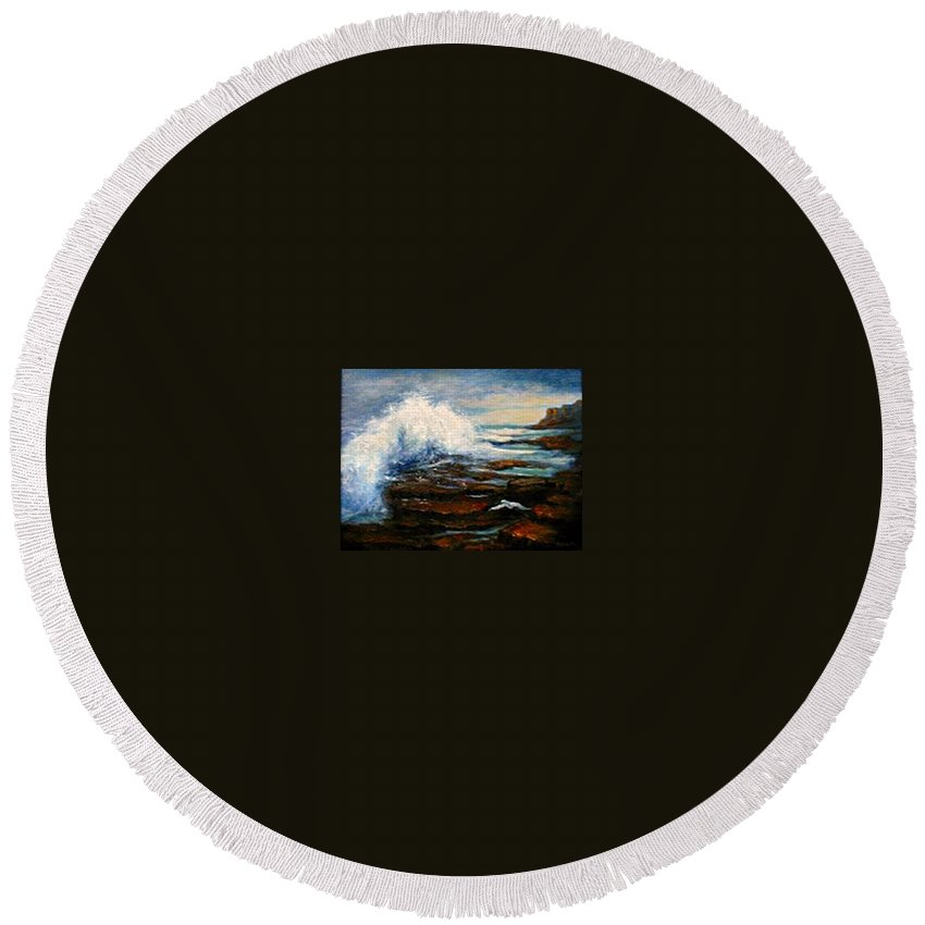 Seascape Round Beach Towel featuring the painting After The Storm by Gail Kirtz