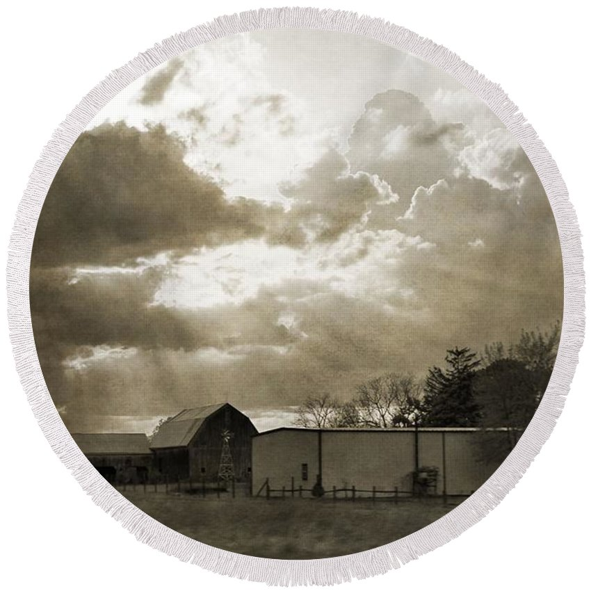 After The Storm On The Farm Round Beach Towel featuring the photograph After The Storm On The Farm by Dan Sproul