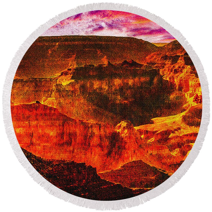 Afterglow Round Beach Towel featuring the photograph Afterglow Grand Canyon National Park by Bob and Nadine Johnston