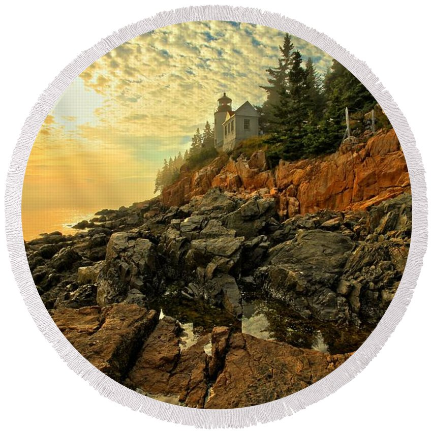 Bass Harbor Lighthouse Round Beach Towel featuring the photograph Afternoon At Bass Harbor by Adam Jewell