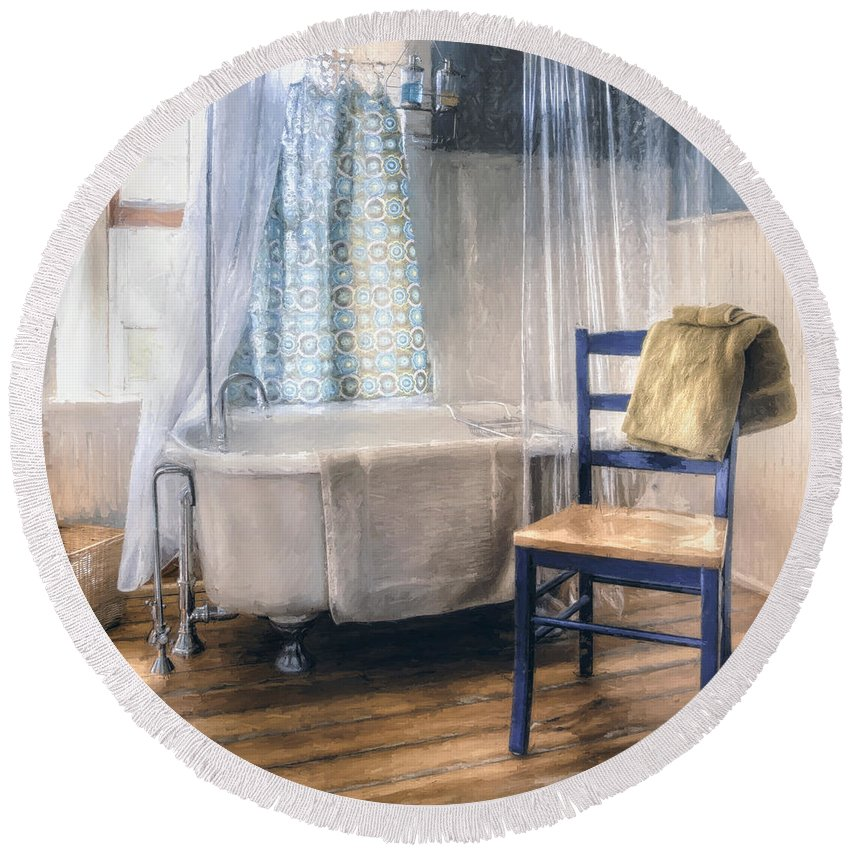Interior Photography Round Beach Towel featuring the photograph Afternoon Bath by Scott Norris