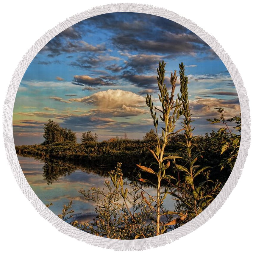 Dale Kauzlaric Round Beach Towel featuring the photograph Late Afternoon In The Mead Wildlife Area by Dale Kauzlaric