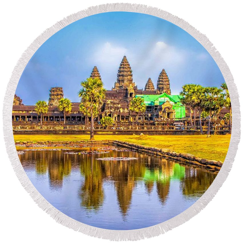 Angkor Round Beach Towel featuring the photograph Afternoon Reflection by Roberta Bragan