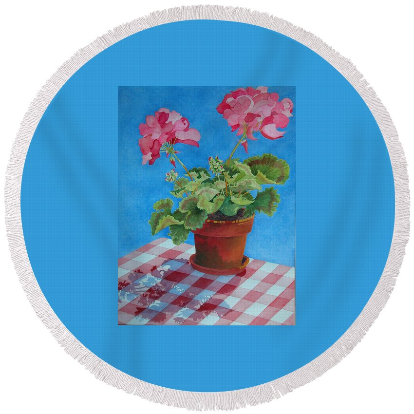 Floral. Duvet Round Beach Towel featuring the painting Afternoon Shadows by Mary Ellen Mueller Legault