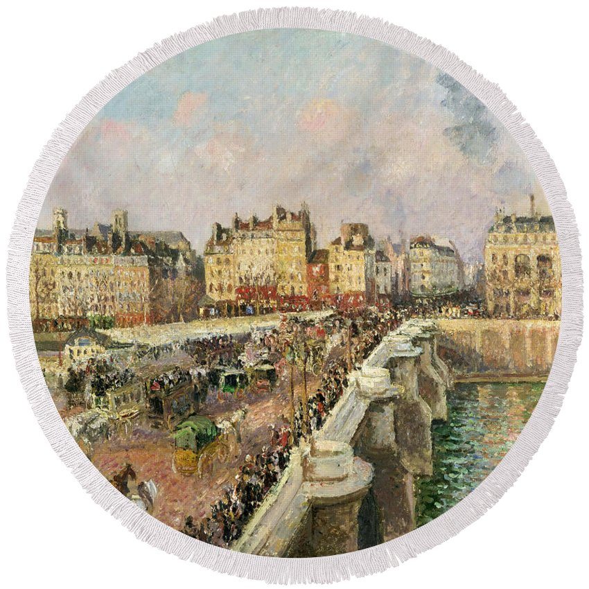 Camille Pissarro Round Beach Towel featuring the painting Afternoon Sunshine. Pont Neuf by Camille Pissarro