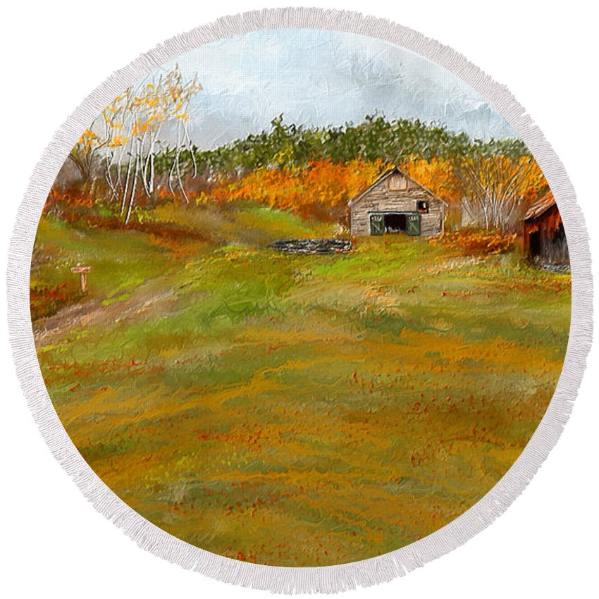 Farmhouse At Robinson Farm Round Beach Towel featuring the painting Aged With Character-farm Life by Lourry Legarde