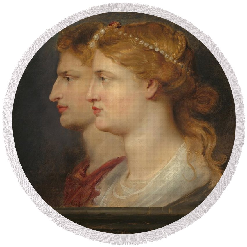 Peter Paul Rubens Round Beach Towel featuring the painting Agrippina And Germanicus by Peter Paul Rubens
