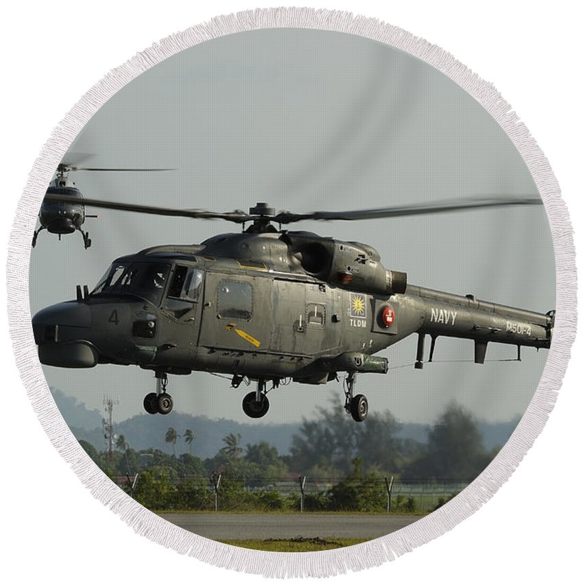 Horizontal Round Beach Towel featuring the photograph Agustawestland Lynx Helicopters by Remo Guidi