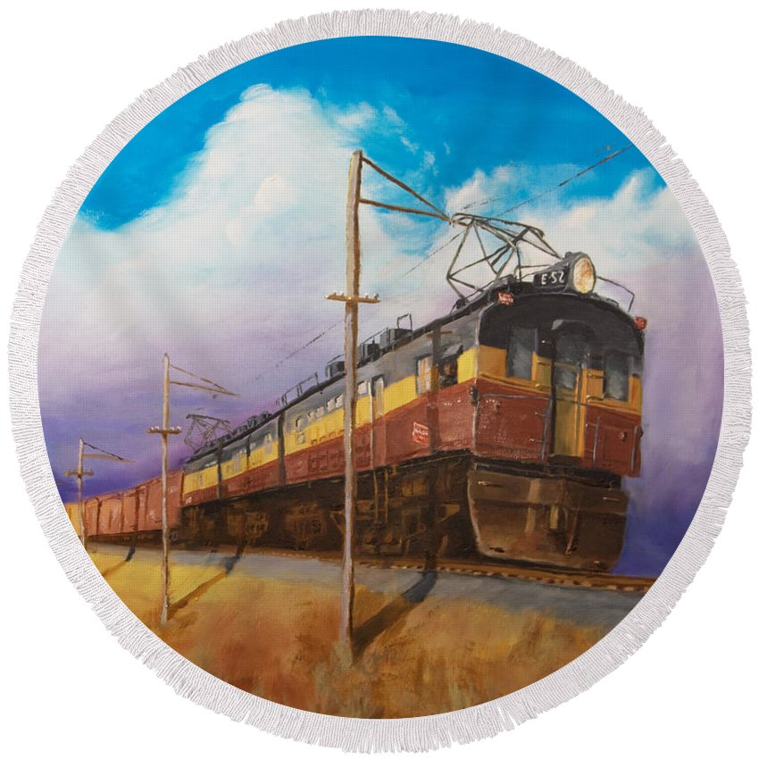 Electric Locomotive Round Beach Towel featuring the painting Ahead Of The Weather by Christopher Jenkins