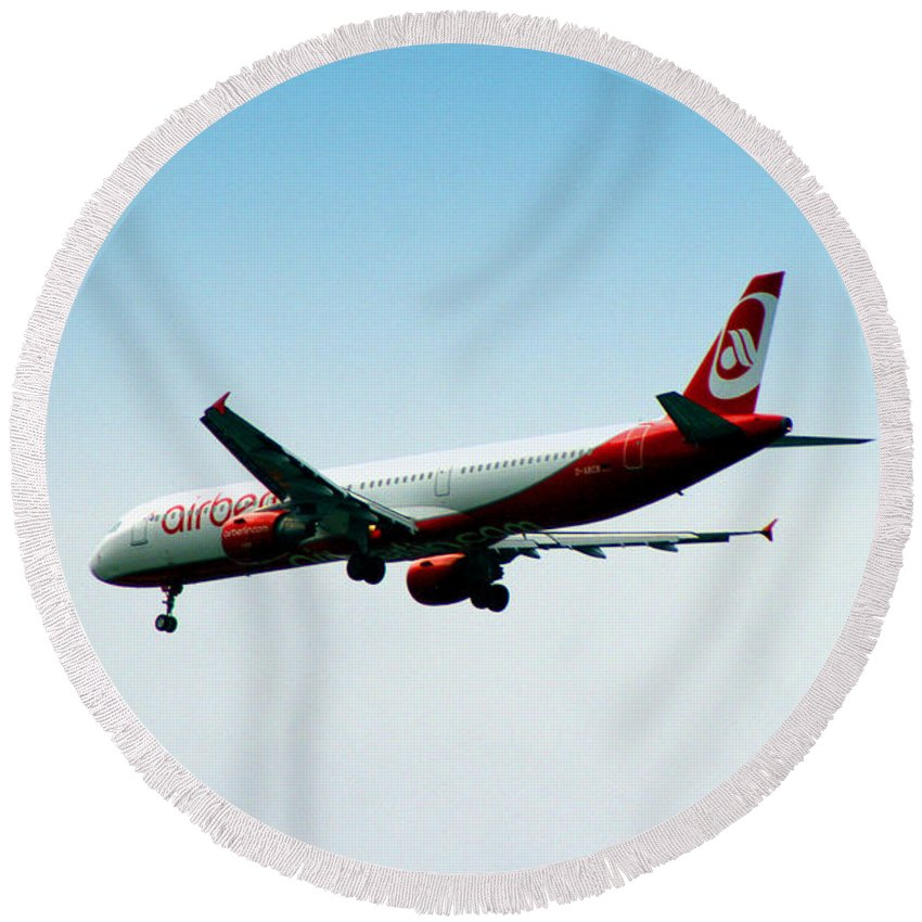 Airplane Round Beach Towel featuring the photograph Air Berlin by Doc Braham