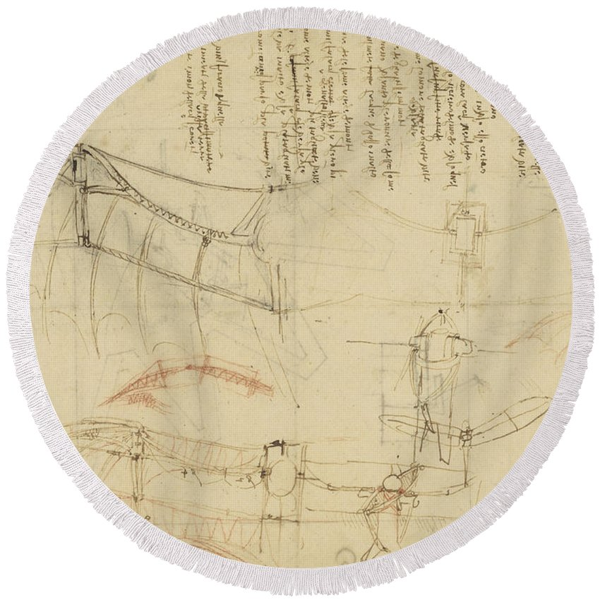 Leonardo Round Beach Towel featuring the drawing Aircraft Machine Has Been Reduced To Simplest Shape Wings Directly Put On Human Body By Straps by Leonardo Da Vinci