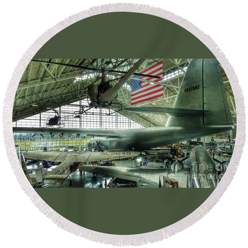 Vintage Airplanes Round Beach Towel featuring the photograph Airplane Era by Susan Garren