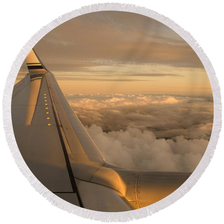 Airplane Round Beach Towel featuring the photograph Airplane by Ron Sanford
