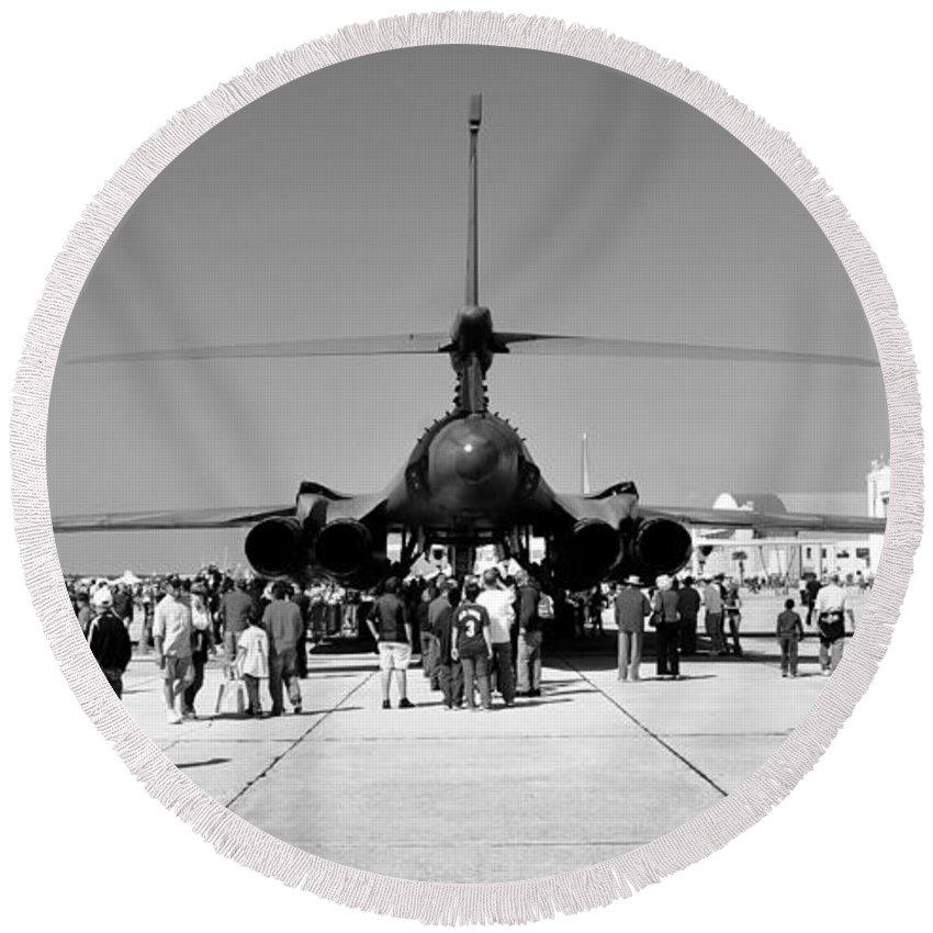 Airshow Round Beach Towel featuring the photograph Airshow by David Lee Thompson