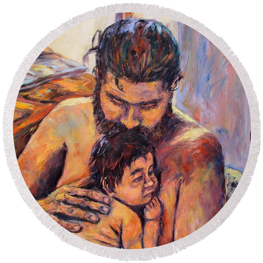 Kendall Kessler Round Beach Towel featuring the painting Alan And Clyde by Kendall Kessler