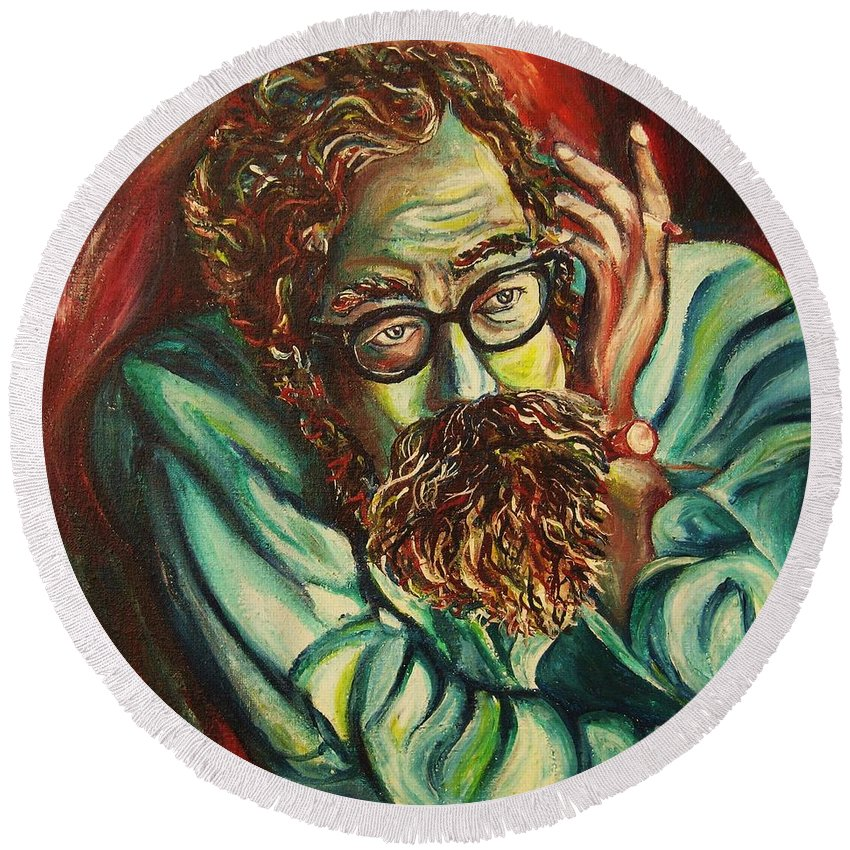 Allen Ginsberg Round Beach Towel featuring the painting Alan Ginsberg Poet Philosopher by Carole Spandau