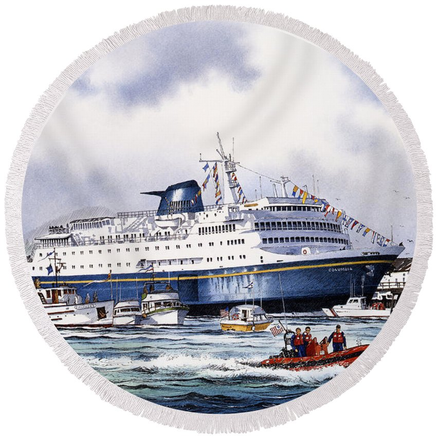 Alaska Ferry Fine Art Print Round Beach Towel featuring the painting Alaska Ferry by James Williamson