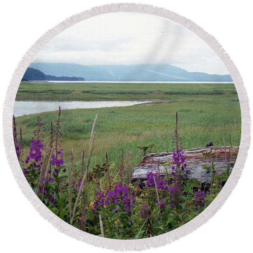 Alaska Round Beach Towel featuring the photograph Alaska - Juneau Wetlands by Pamela Critchlow