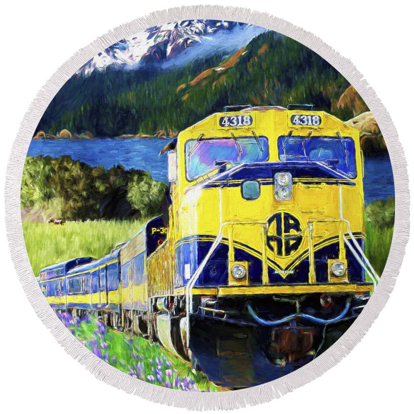 Railroad Round Beach Towel featuring the painting Alaska Railroad by David Wagner