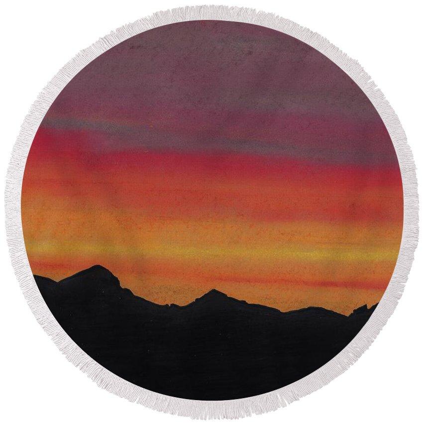 Alaska Round Beach Towel featuring the drawing Alaska Sunset Beauty by D Hackett