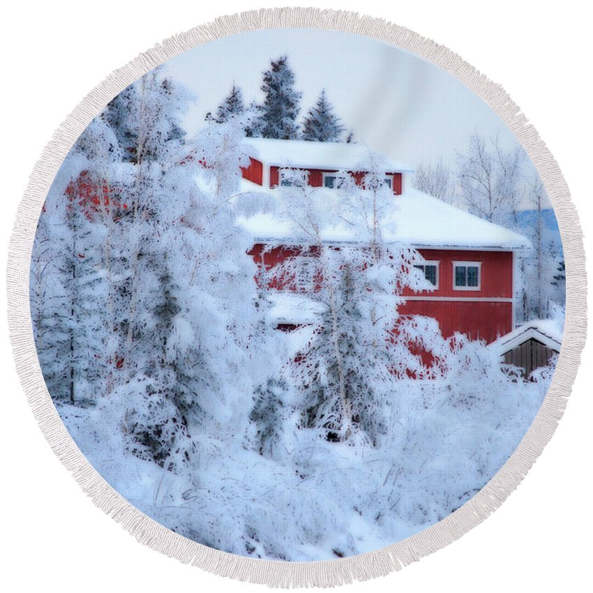 Red Round Beach Towel featuring the photograph Alaskaland Train Station I by Kathy Sampson