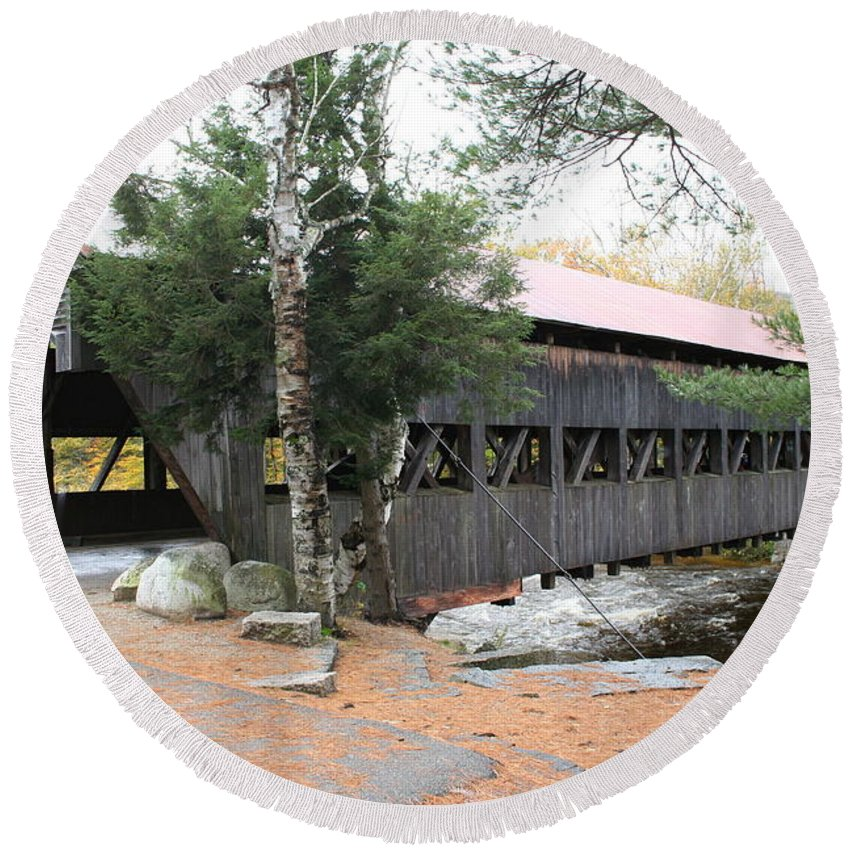 Covered Bridge Round Beach Towel featuring the photograph Albany Covered Bridge by Christiane Schulze Art And Photography