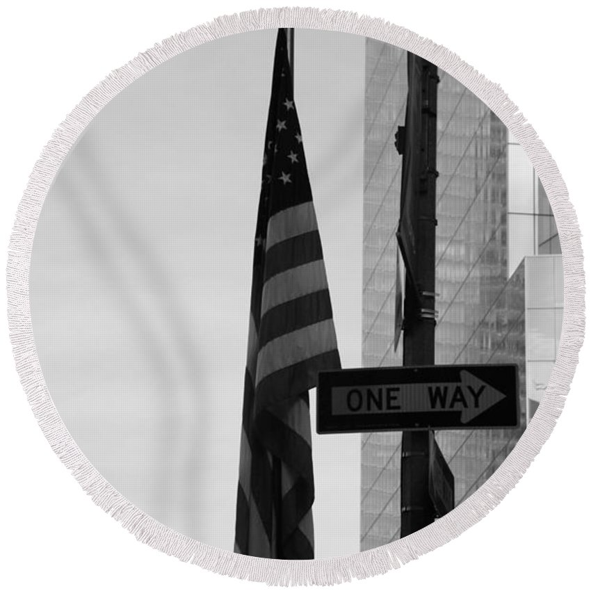 Wtc Round Beach Towel featuring the photograph Albany Street In Black And White by Rob Hans