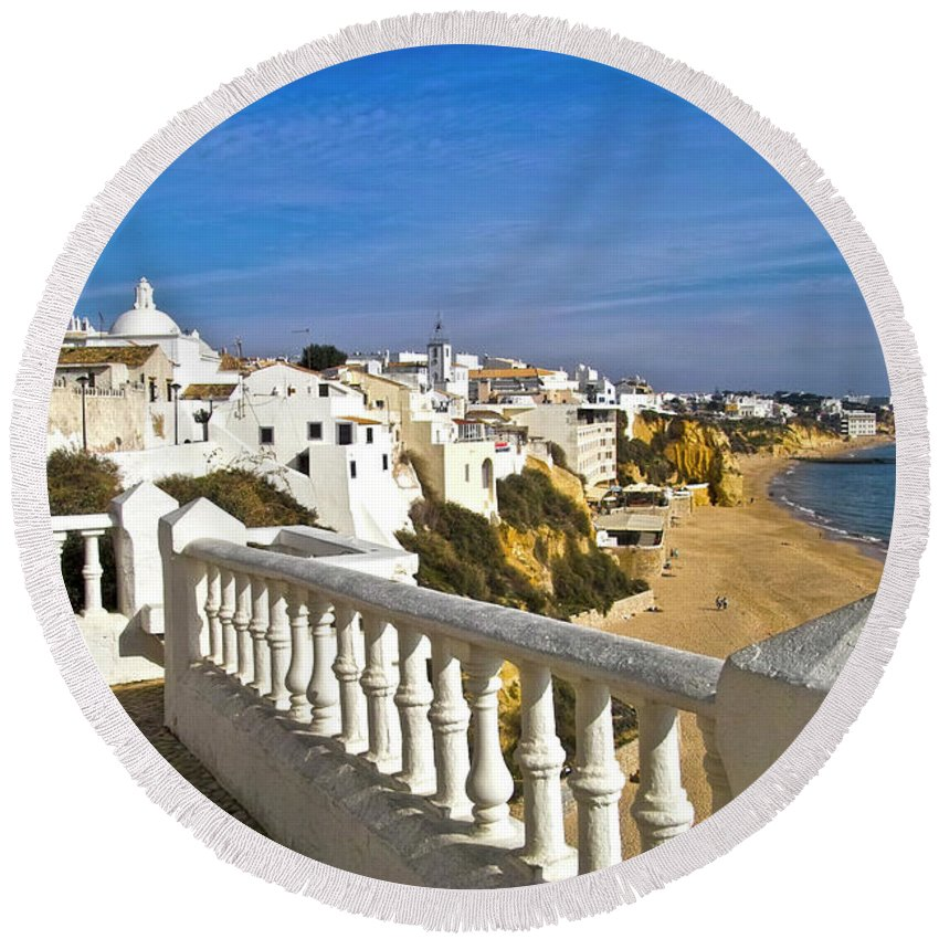 Europe Round Beach Towel featuring the photograph Albufeira Village By The Sea by Heiko Koehrer-Wagner